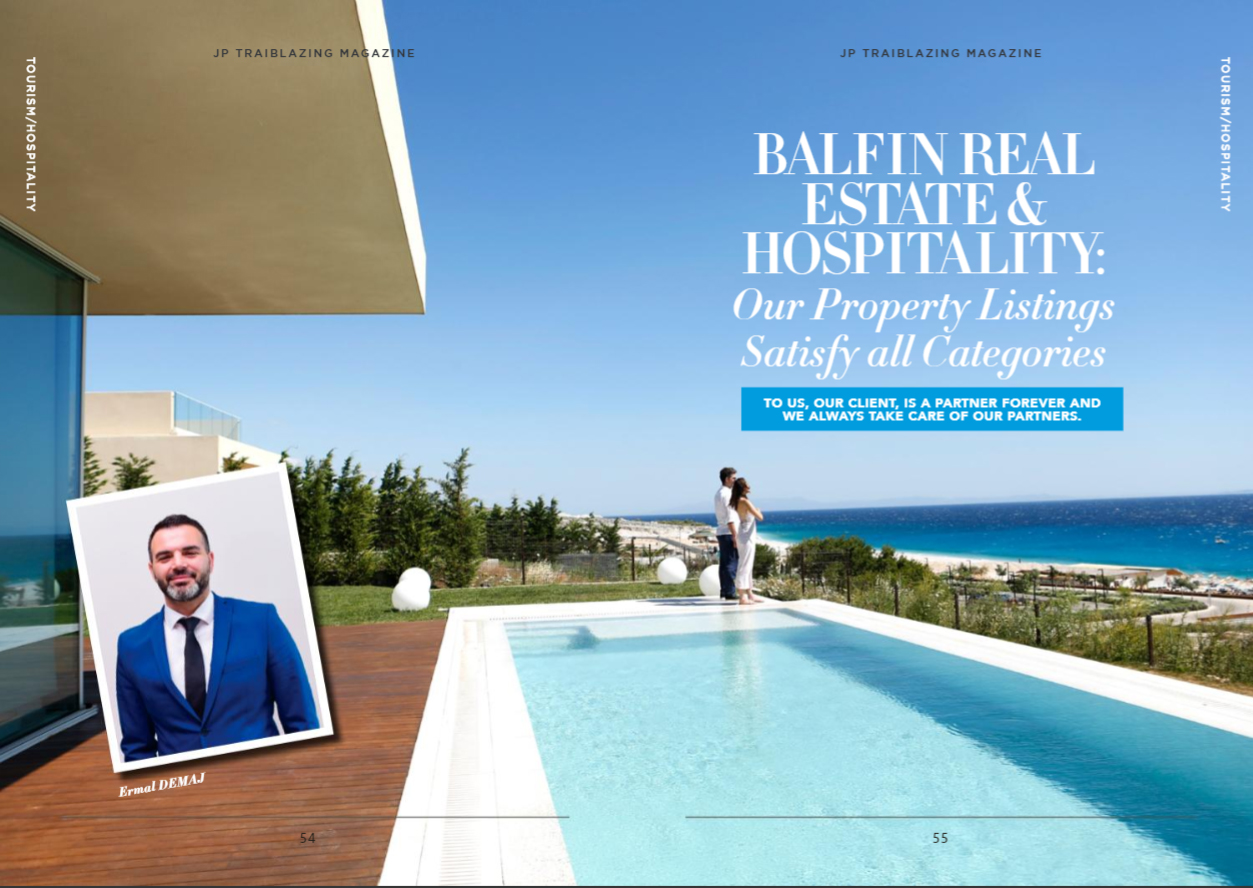 Director of Sales at Balfin Real Estate & Hospitality, Ermal Demaj, in an interview with Trailblazing Magazine, august 2021.